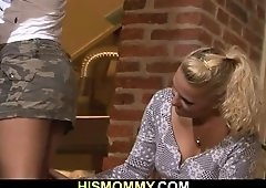 Mom seduces her son's FEMALE FRIEND into snatch toying action