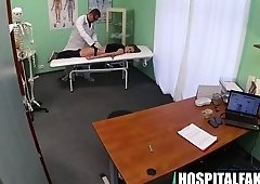 Foxy blondie patient getting massaged by her doctor