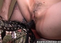 Rough Asiatic mistress plows her sweet slave sweetie