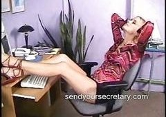 blondie  secretary in a short skirt upskirt