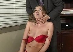 Lusty young blond babe performs insane blowjob in the office