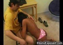 Ebony unprofessional strips her spankable part3