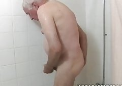 Shower And Plus a Jerk Off For Grandpa