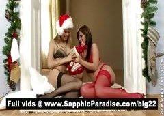 Lovely blond and brunette lesbians kissing & licking nipples and having lesbian love