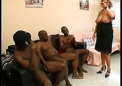 A French older named Lou gangbanged by darksome cocks