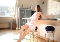 teenie wow angel teasing in a kitchen