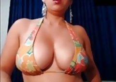Plump Tit Latina Puts a Dildo In Ass Hole Shakes it Around