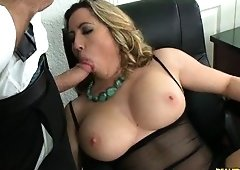 Kat receives her big natural tits pounded by Jmac.
