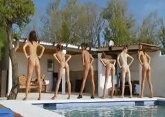 Six naked gals by the pool from italia