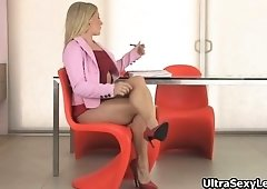 Horny blondie secretary in hot high heels