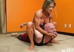 Muscular Blond Wrestles wimp