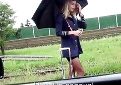 Outdoor sex with a stranded stewardess