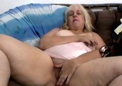 Big Beautiful Woman ugly wench masturbates on a couch