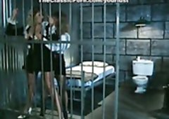 Slutty blondie curly officer gives bj strong cock for semen in the jail