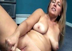 Curvy blondie solo model masturbating with a dildo hard core